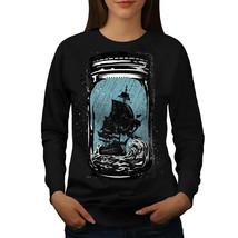 Pirate Ship Jam Jar Jumper Glass Boat Women Sweatshirt - $18.99