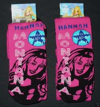 (2 Pairs) HANNAH MONTANA Comfy Slipper Socks Fits Kid's Shoe Sz. 10-3 NWT - $11.46