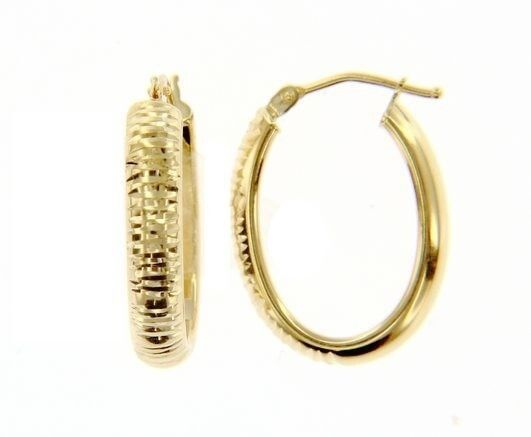 18K YELLOW GOLD OVAL HOOP EARRINGS 24 x 4 MM WORKED KNURLED BRIGHT MADE IN ITALY