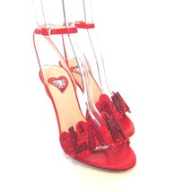 L-3812172 New Valentino Red Sparkle Amour Heart Heels Size US-7 Marked-37 - $399.99