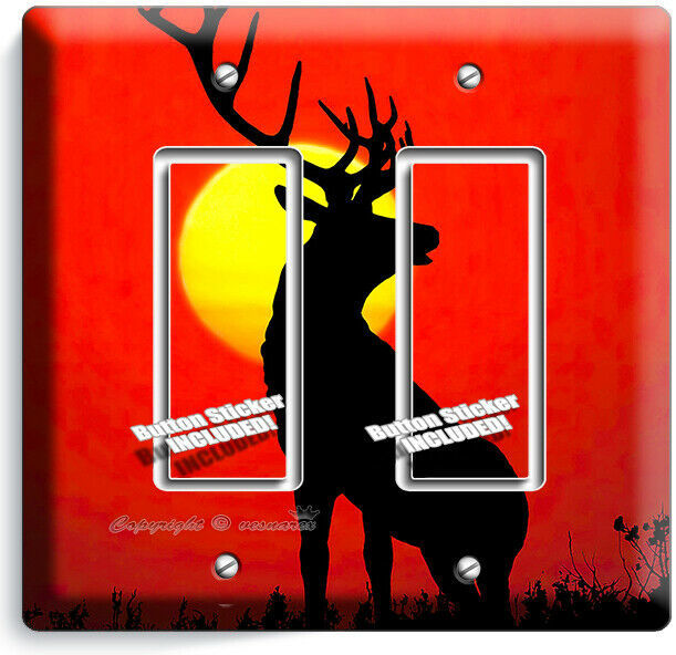 WHITETAIL DEER SUNRISE LIGHT SWITCH OUTLET WALL PLATE HUNTING FOREST CABIN DECOR