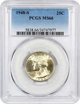 1948-S 25c PCGS MS66 - Washington Quarter - $77.60