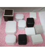 Lot 11 NICE Jewelry Boxes White Black Faux Leather + Earring Necklace Co... - $36.14