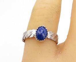 925 Sterling Silver - Vintage Lapis Lazuli Twist Solitaire Ring Sz 7.5 -... - $23.48
