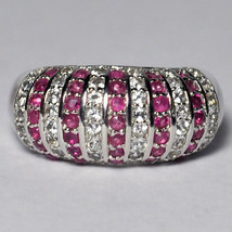 Natural Ruby White Topaz Dome Band Ring Women 925 Sterling Silver 2.43ct... - $199.00