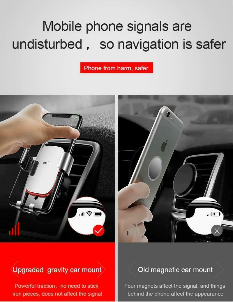 """Car Mobile Holder 4-6.0"""" Air Vent Mount Metal Gravity Universal Smartphone Stand image 12"""