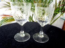 Set of 2 Clear High Quality Etched Crystal Cordial Glasses - $21.77
