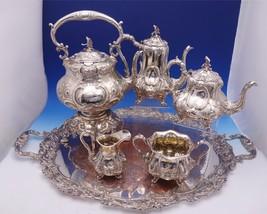 Henry Wilkinson Sterling Silver Tea Set 5pc w/Crest Bird Finial SP Tray (#3080) - $2,995.00