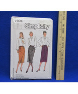 Simplicity Skirts w/ Back Slit Sewing Pattern Size 16 7704 Womens Vintage - $5.93