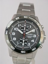 Seiko men watch 7T94 chronograph grey dial SNN193 - $165.33