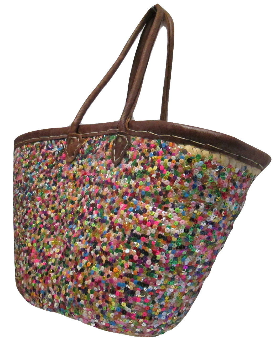 French Market Basket Sparkling Sequin & Leather Straw Tote Bag Moroccan Multi