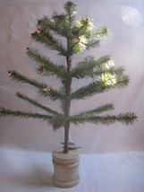 "21"" Green Feather Christmas Tree  Wood Bucket Base - $64.30"