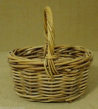 Oval Wicker Basket with Handle 10in x 10in x 7in Wood - $14.93