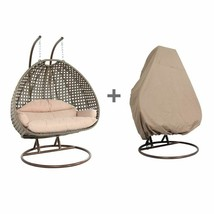 2 Person Outdoor Strong Rattan Hanging Wicker Swing Chair Egg Swing XL w... - $999.98