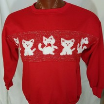 Kittens Christmas Sweater Sweatshirt Ribbons Cat Red Unisex Size L Large - $29.11