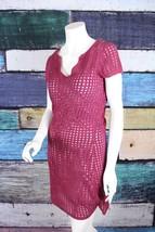 INC International Concepts Medium Maroon Crochet Knit Tunic Sweater Dres... - $32.47
