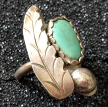 VINTAGE STERLING SILVER TURQUOISE FEATHER RING s 6 - $29.69