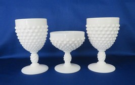 Fenton Goblets & Champagne / Sherbet, Milk Glass Hobnail c. 1960-68 - $20.00