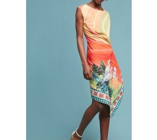 Anthropologie Vibrant Bird Dress by Eva Franco Sz 2 - NWT