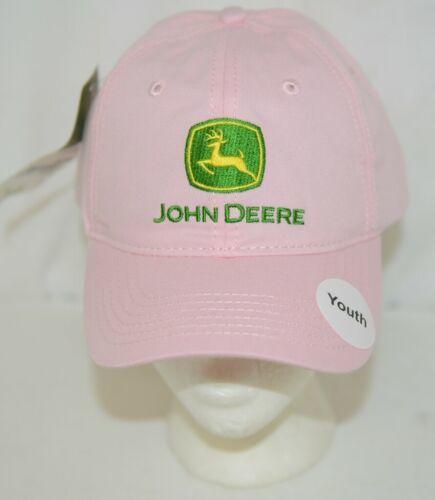John Deere LP38219 Light Pink Youth Cap Green Yellow Logo Snap Back