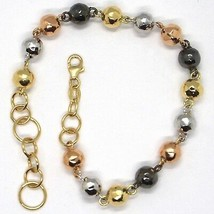 Gold Bracelet Yellow White Pink Black 18K 750, Spheres Alternate and Enh... - $430.47
