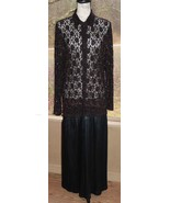 Chico's Design Size 2 Lace & Beaded Black Long Sleeve Formal Button Fron... - $56.99