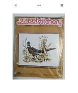 "Vintage 1977 Sunset Stitchery "" PHEASANT"" Crewel Embroidery Kit 16"" x 20... - $14.01"
