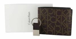 Calvin Klein Ck Men's Leather Bifold Id Wallet Key Chain Set Rfid Brown 79544