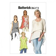 BUTTERICK Ladies Easy Sewing Pattern 6172 Layered & Asymmetric Tops & Tu... - $11.83