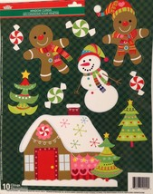 Static Window Clings Christmas Gingerbread Man House - $8.86