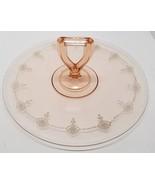 Vtg Pink Depression Glass Etched Cake Tray Plate dessert Retro Serving P... - $26.11