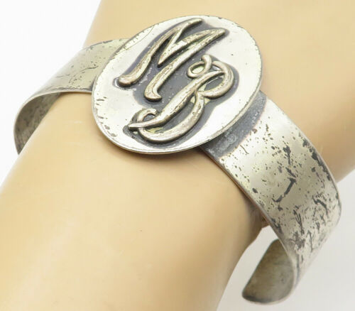 ORB 925 Silver - Vintage Embossed MB Initials Smooth Cuff Bracelet - B5015