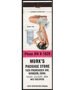 Vintage matchbook cover MURKS PACKAGE STORE Wines Beers girlie pic Windsor Conn - $8.09