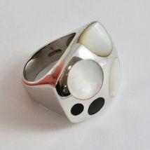 Silver Ring 925 Rhodium to Fscia with Nacre White and Enamel Black image 5