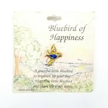 Vintage Bluebird Of Happiness Goldtone Blue Bird Pin Made In USA  - $11.63