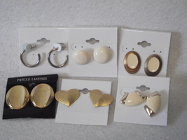 6pc Vintage new old stock earrings lot gold silver tone oval heart hoop - $12.00