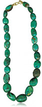 60.50 Cts Natural Turquoise From Arizona Bead Necklace in 18K Yellow Gold - $981.80
