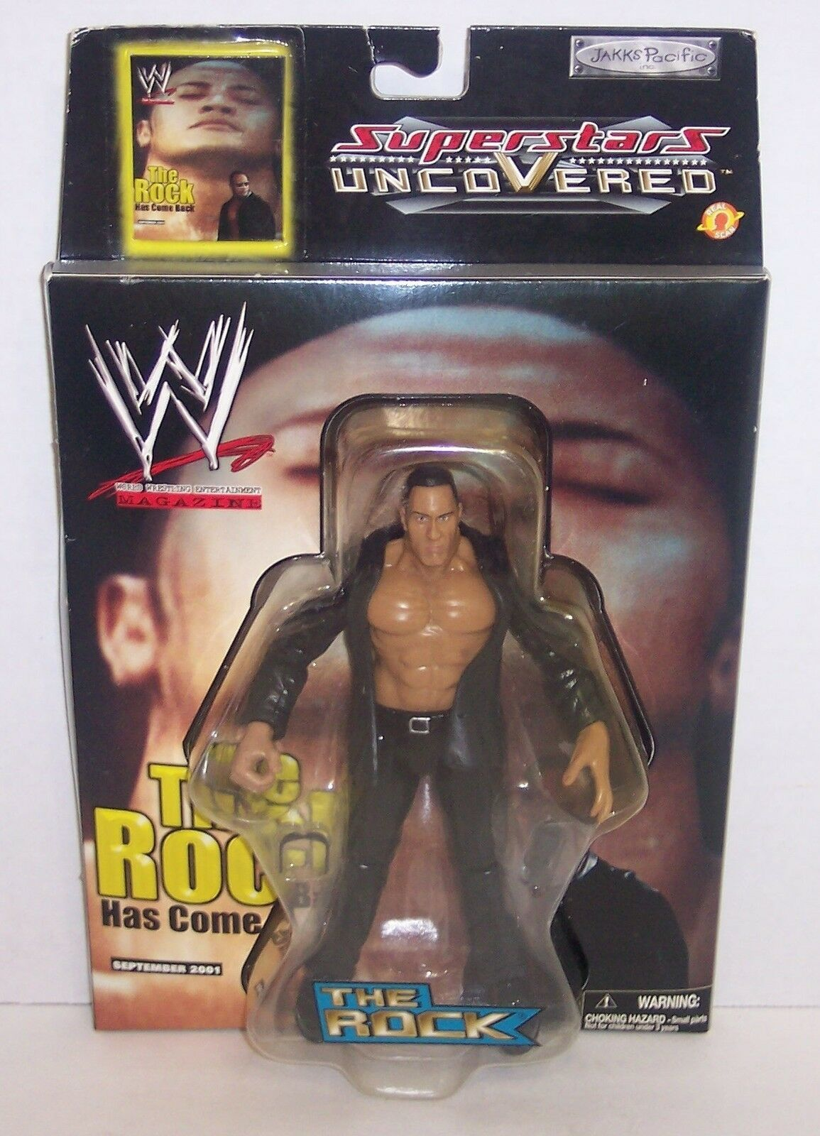 "New! 2002 Jakk's Superstars uncoVered ""The Rock"" Action Figure WWF WWE [786]"