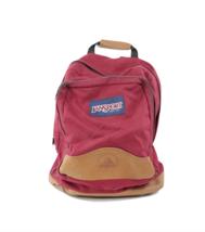 Vintage 90s JanSport Spell Out Box Logo Leather Bottom Backpack Book Bag... - $59.35