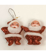 "Vintage Santa Christmas Ornament Miniature Glitter 2"" Decoration Figure ... - $12.86"