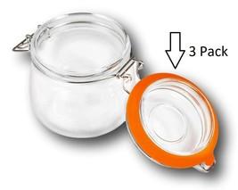 "3 Pack Hinged Clamp Jar Lid Seal Fits Mason, Ball 3.7"" OD, 2.7"" ID - $9.99"