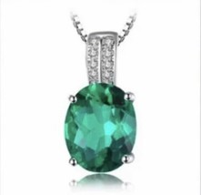 925 Sterling Silver Oval Emerald Pendant Necklace [PEN-172] - $18.81