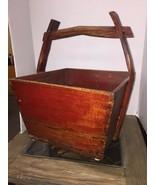 Primitive Antique Red Square Water Bucket Folk Art Wood Bucket - $277.20