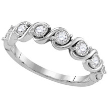 10kt White Gold Womens Round Diamond Cascading Band Ring 1/3 Cttw - £293.41 GBP