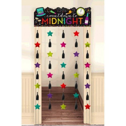 Countdown to Midnight New Year's Eve Doorway Curtain Jewel Tones