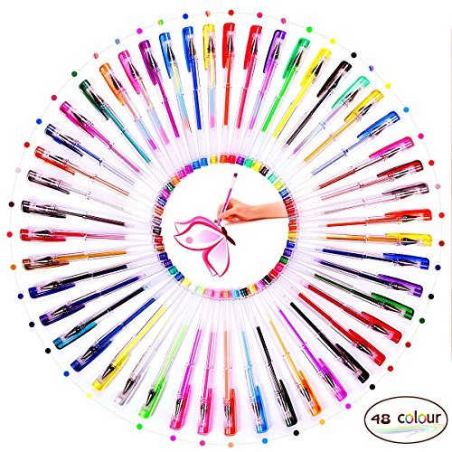 ihreesy 48 Gel Pen Set with Case Ideal for Children and Adults Scrapbooking Colo
