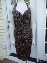 BETSEY JOHNSON Black/Beige Printed 100% Silk Ruched Halter Dress 6 - €25,62 EUR