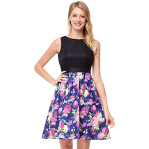AOVEI Purple Floral Print Vintage Hit Color Flared Prom Pleated Swing Dress - $24.99