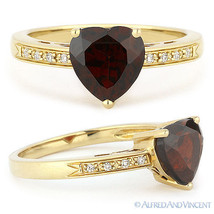 1.71ct Heart-Shape Garnet & Round Cut Diamond Engagement Ring in 14k Yel... - £318.41 GBP