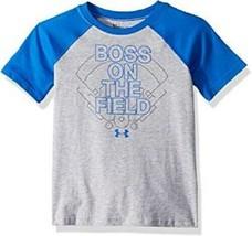 Under Armour Boys BOSS ON THE FIELD Baseball Raglan T Shirt Blue Grey Ne... - $13.85